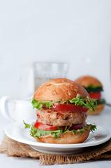 homemade hamburger with fresh vegetables. Closeup