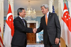 Secretary Kerry Shakes Hands With Singaporean Foreign Minister Balakrishnan After They Addressed Reporters in Washington