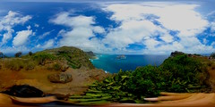 Looking down at Makapu'u Beach from the Makapu'u Lighthouse Summit Lookout- a 360° Equirectangular VR