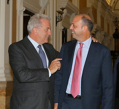 Commissioner Avramopoulos  with the Minister of Internal Affairs Angelino Alfano in Rome