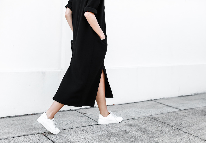 modern legacy blog ASOS duster coat black dress sneakers street style Alexander Wang Prisma clutch monochrome (11 of 13)