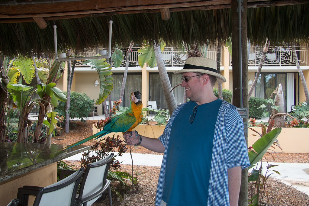 Ken with Parrot at Hampton Inn Key Largo