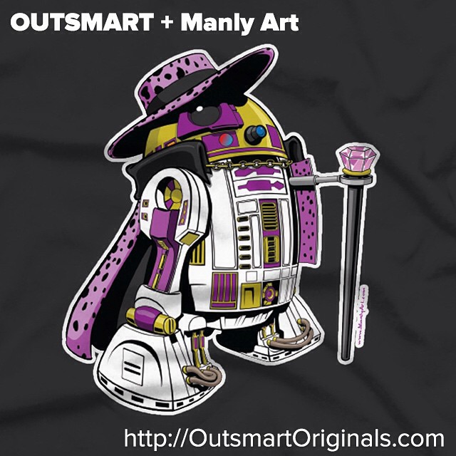 Outsmart Originals + Manly Art presents the Pimp2-D2 tee! For the fashionable mofo. @outsmartoriginals #pimp2d2 #tshirt #hautecouture #pimpcouture #stylish #outsmartoriginals #manlyart