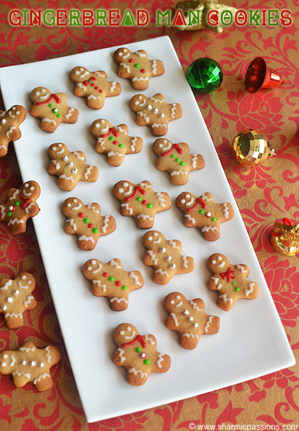 Gingerbread Men Cookies Recipe - Eggless Christmas Cookie with ...