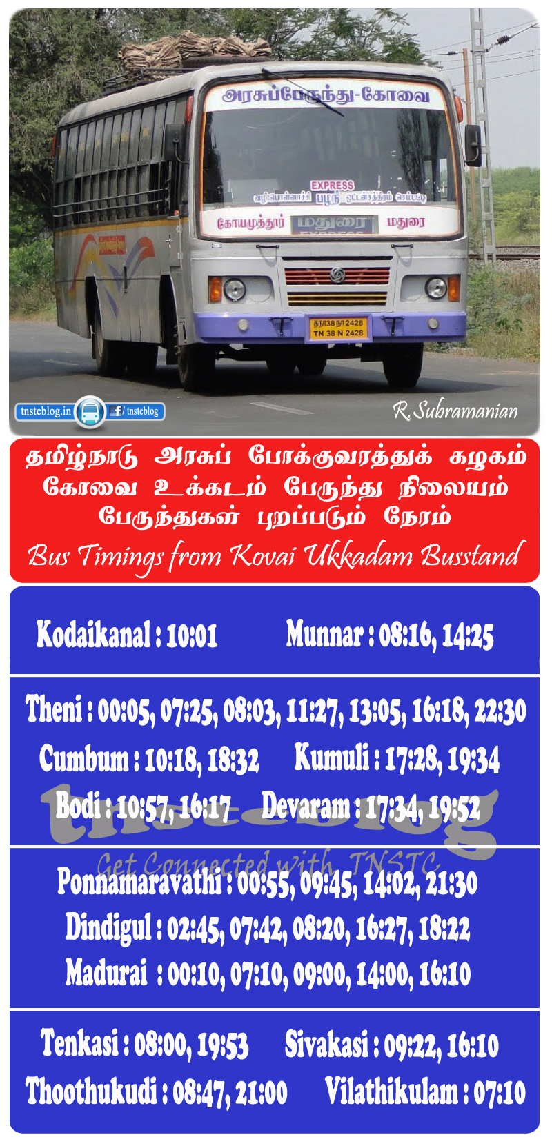 Madurai and south bound buses timings from Kovai Ukkadam Busstand.