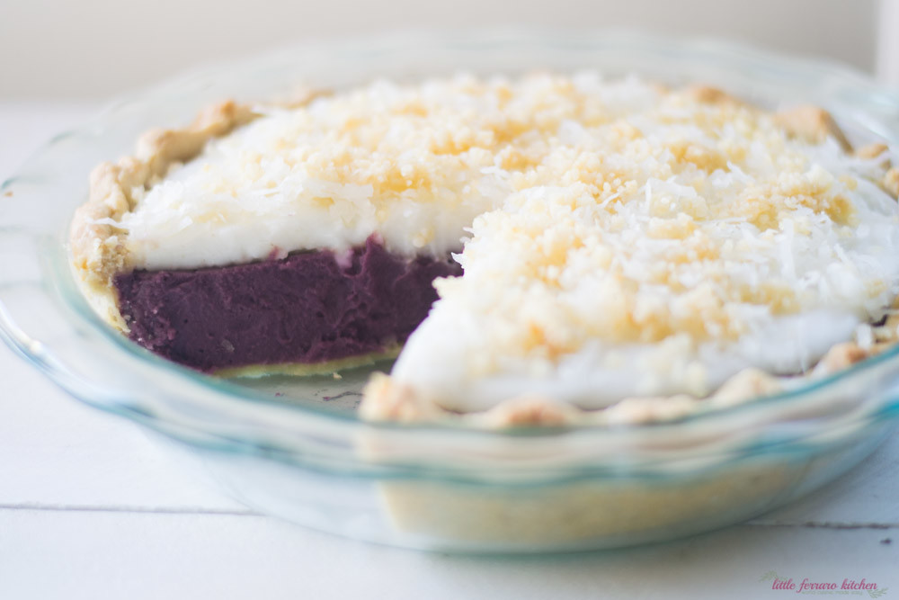 Purple Sweet Potato Haupia Pie via LittleFerraroKitchen.com