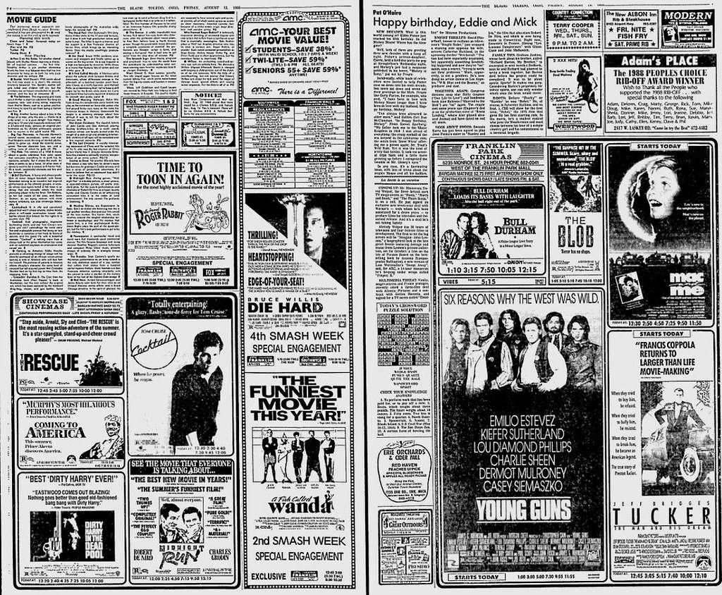 1988 Newspaper movie section
