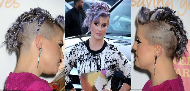 Kelly-Osbourne's-purple-braided-mohawks-with-safety-pins,feminine rock chic style, lavender lock, lavender braided mohawk with safety pin, Mohawk. Mohawk hairstyle, braided mohawk</p><p>
