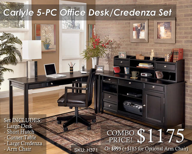 Carlyle 5PC Credenza Office Set - Priced