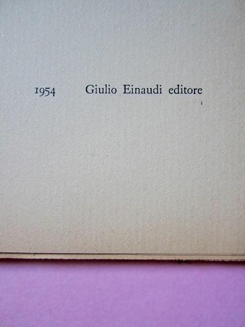 L'entrata in guerra, di Italo Calvino. Einaudi 1954. [Progetto grafico di Albe Steiner]. Frontespizio (part.), 1