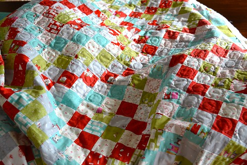 Cherry Christmas quilting in progress
