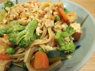 Spicy Peanut-Hoisin Noodles with Tofu and Broccoli