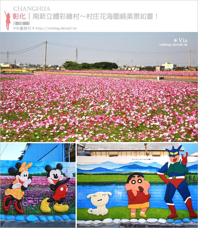 【南新彩繪村】彰化埔鹽/南新立體彩繪村~隱藏版的花海圍繞整村,美景如畫!
