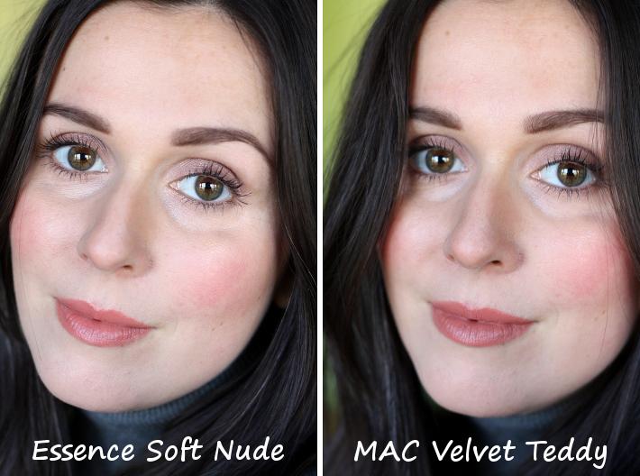 mac velvet teddy dupe essence soft nude longlasting lipgloss