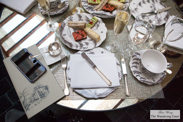Table setting with our Champagne and tea sandwiches