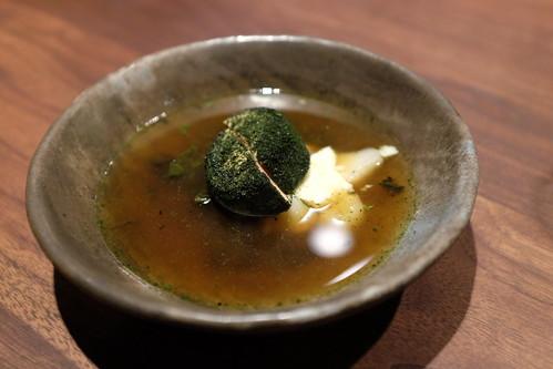 trout consomme - sunchoke, kale, mousse