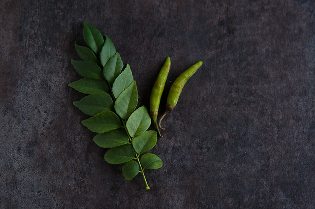 Curry leaves and green chiles