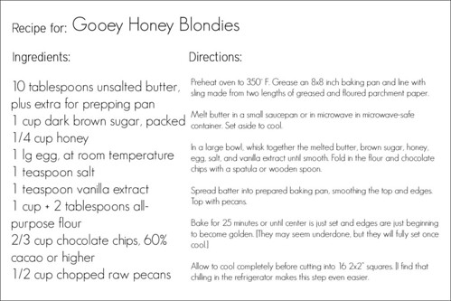 Gooey Honey Blondies
