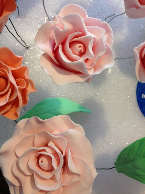 gum paste roses and leaves