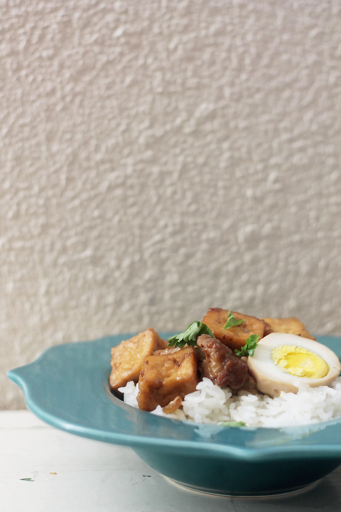 soy braised pork with tofu and boiled eggs