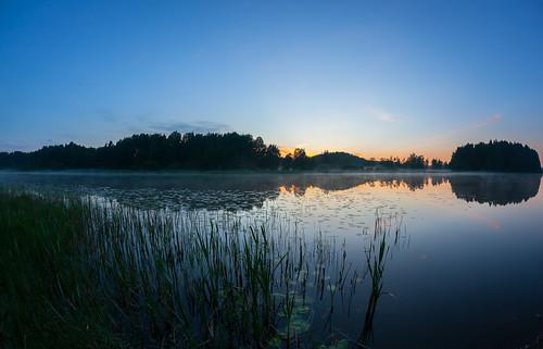 sunset sun lake reflection beach silhouette espoo finland landscape prime evening twilight sundown fisheye shore 15mm ilta kesä ranta järvi auringonlasku aurinko uusimaa pitkäjärvi laaksolahti