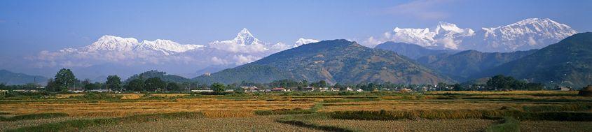 Nepal, Bike Rund um Annapurna. Annapurna-Gruppe von Süden. Foto: Archiv Härter.