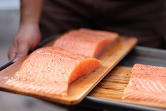 animal(0.0), salmon-like fish(0.0), fish(0.0), salmon(1.0), fish(1.0), lox(1.0), food(1.0), smoked salmon(1.0),