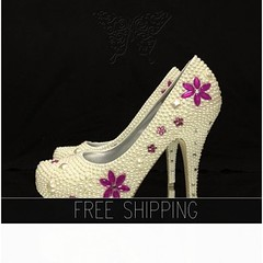 Bridal Ivory Pearl Luxury Closed Toe heels with Pink crystal floral motif, http://t.co/uIFT1wFQYT