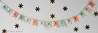 'Merry Christmas' pretty washi tape bunting 1