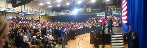 Panorama of Hillary/Shaheen/Hassan event