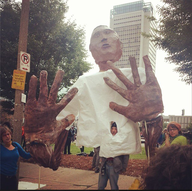 Paper mache statue of Mike Brown from #FergusonOctober