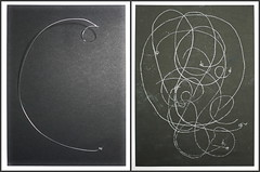 """Music and Physics - Albert Einstein`s Violin String - Albert Einsteins Violinsaite - Drawings of a no longer used Prop, that was placed on my table during Rehearsals Friedrich Dürrenmatt """"Die Physiker"""" """"The Physicists"""""""