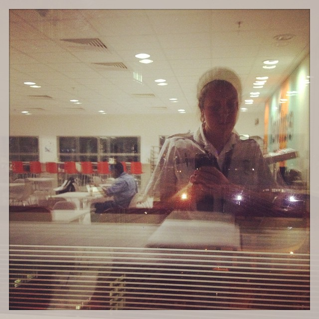 7pm - supper time selfie in the reflective windows of the staff restaurant #work #nurse #window