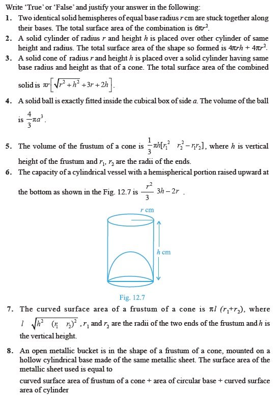 Class 10 Important Questions for Maths – Surface Areas and Volumes