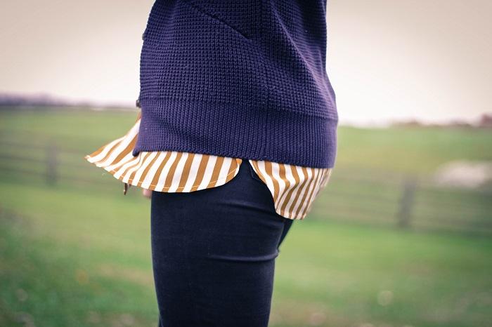 fall outfit. fall layers. virginia winery. knit sweater,. vertical stripe silk shirt. distressed black skinnies. va darling. 19
