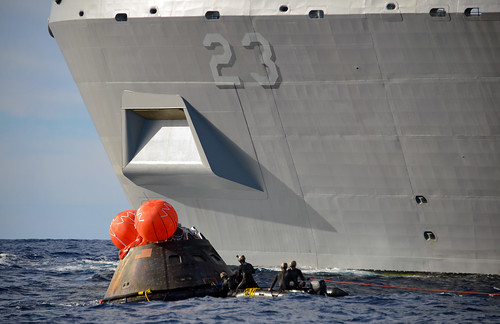 PACIFIC OCEAN -San Antonio class amphibious transport dock ship USS Anchorage (LPD 23) successfully completed recovery operations of the NASA Orion crew module.