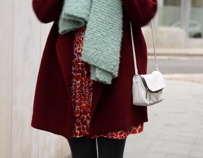 burgundy coat printed skirt outfit