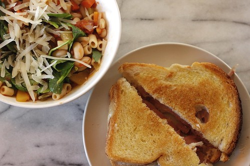 Minestrone soup and grilled cheese