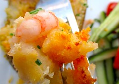 SHRIMP-LOADED TWICE BAKED POTATO & CUCUMBER/TOMATO SALAD IN CHILI/LIME VINAIGRETTE