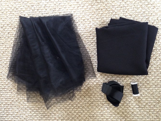 DIY tulle circle skirt tutorial materials