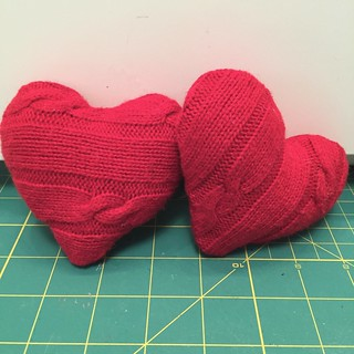 Recycled Sweater Hearts