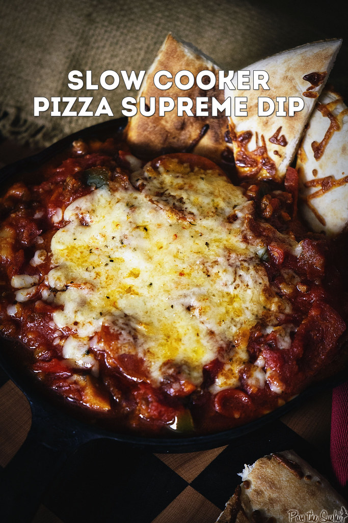 Slow Cooker Pizza Supreme Dip | GirlCarnivore.com