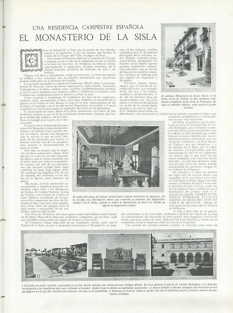 """Artículo sobre el Palacio de la Sisla publicado en la revista """"Vida Aristocrática"""", de fecha 30 de junio de 1922"""