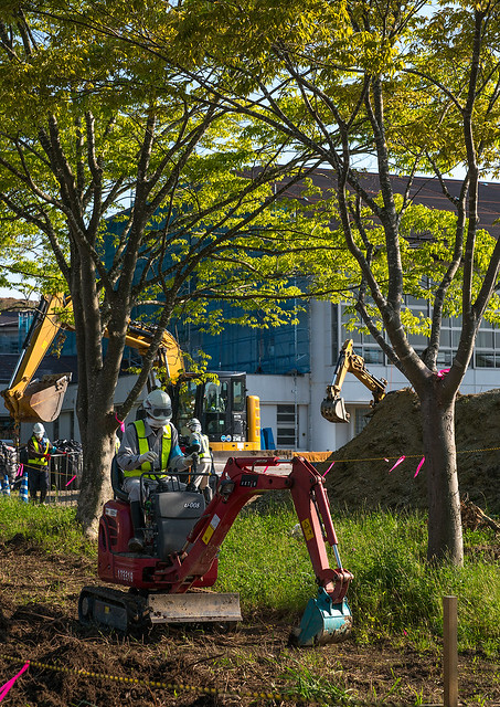 Decontamination work no entry sign in front of workers who remove top soil contaminated by nuclear radiations after the daiichi nuclear power plant explosion, Fukushima prefecture, Iitate, Japan