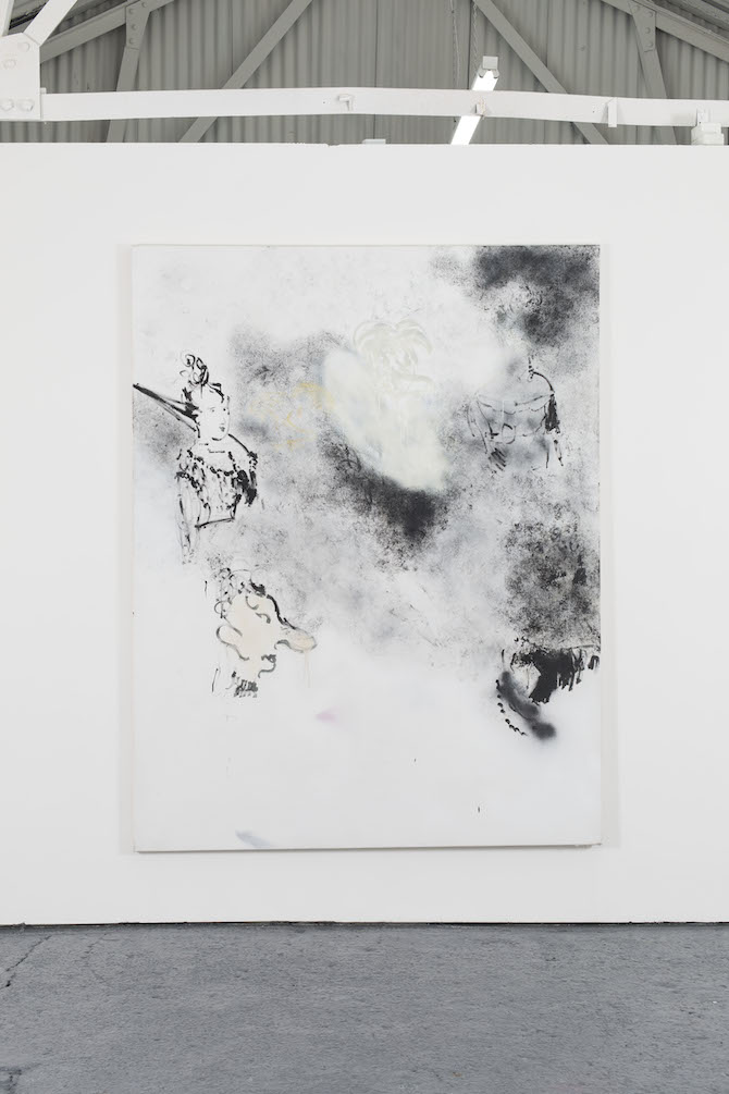 Robin von Einsiedel, Schedule for a Young Gentry Woman, 2014, 207cm x 161cm Spray Paint and Bitumen on Canvas. Courtesy Oscar Proctorjpg