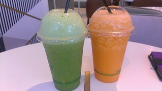Broccoli/Kale and Orange/Carrot blends at Supercharger