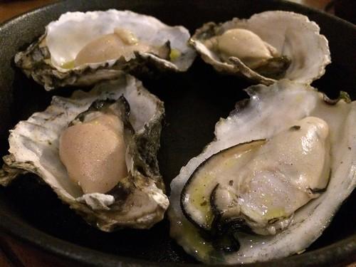 蒸し牡蠣のウォッカフランベ ガスパチョのソースを添えて@貝殻荘 サクラテラス店