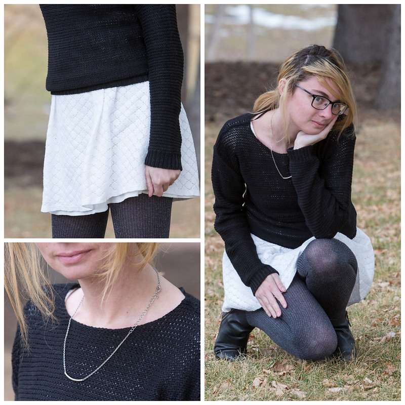 Black, white, sweater, popbasic, white dress, winter outfit,