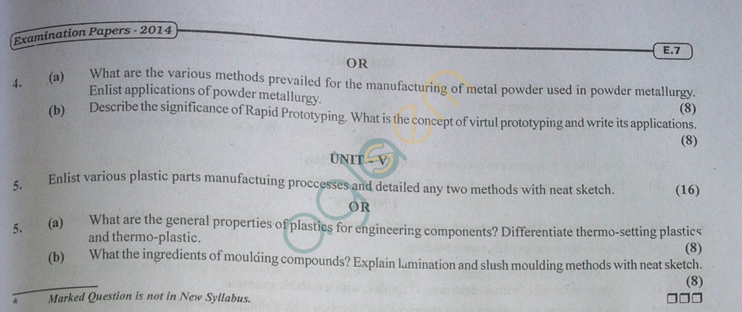 RTU: Question Papers 2014 - 3 Semester - ME - 3E1634