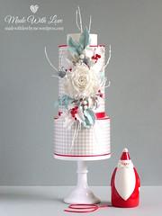 Gingham Christmas Cake